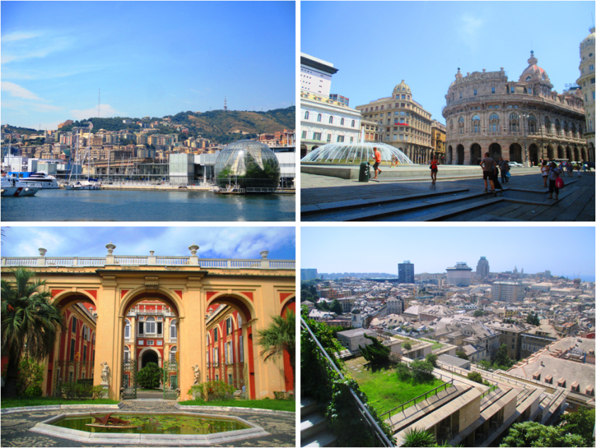 Clockwise from Top Left: Porto Antico or the old harbour, Piazza Ferrari, A part of the stunning panoramic view of Genoa from the Castelletto viewing point, and the 16th Century Palace of Genoa.