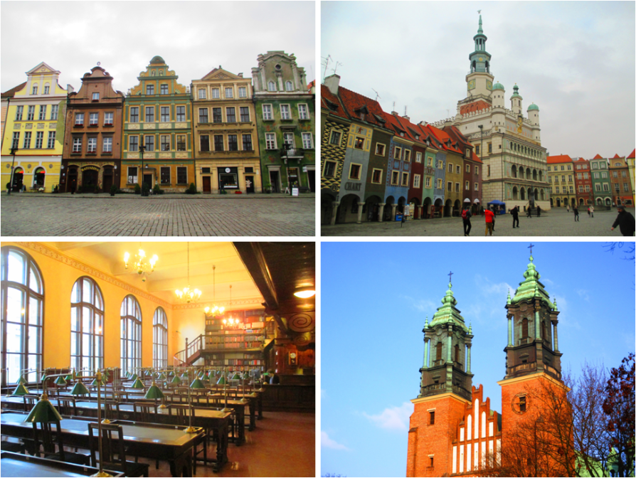 Clockwise from Top Left: Colorful buildings along the perimeter of the old town center square, The City hall along with the old marketplace, the Poznan Cathedral, and inside the still functioning ancient public Raczynskich library.
